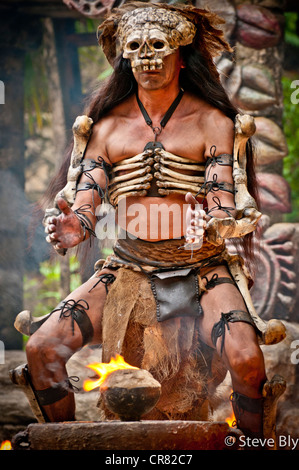 A Maya fokllore fire dance ritual is performed by a mystical performer in Xcaret Show, Riviera Maya Quintana Roo, - Stock Photo