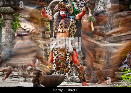 A Maya fokllore fire dance ritual is performed by mystical performers in Xcaret Show, Riviera Maya, , Quintana Roo, - Stock Photo