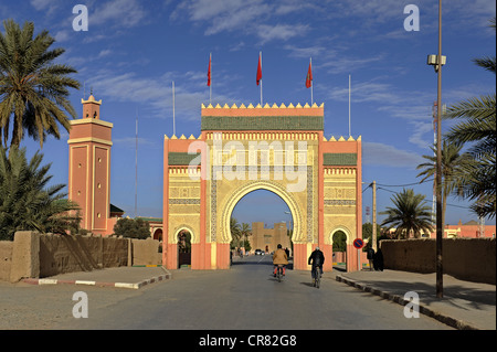 City gate of Rissani, southern Morocco, Morocco, Maghreb, North Africa, Africa - Stock Photo