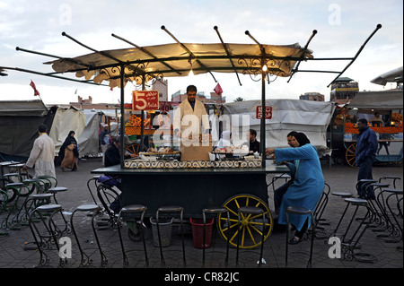 Food stall on the Jemaa el-Fnaa square, UNESCO World Heritage Site, Marrakech, Morocco, Maghreb, North Africa, Africa - Stock Photo