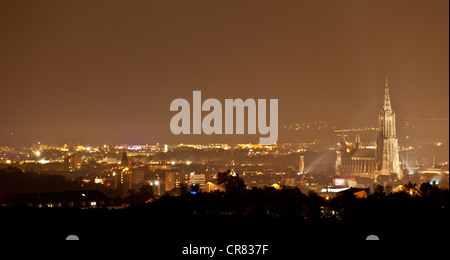 View of Ulm and Ulm Minster, at night, Baden-Wuerttemberg, Germany, Europe