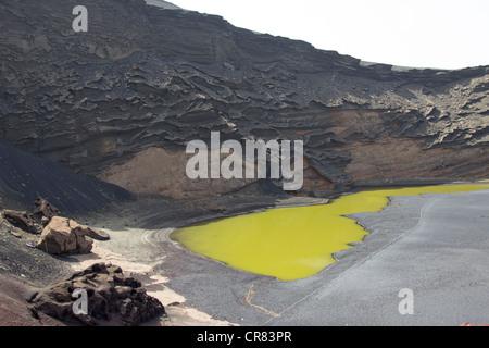 El Golfo Volcanic Crater - Timanfaya National Park - Lanzarote - Canary Islands - Stock Photo