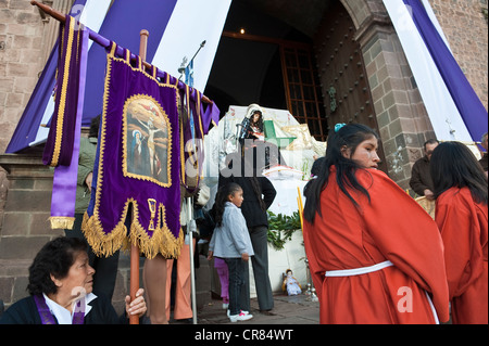 Peru Cuzco Province Cuzco city listed as World Heritage by UNESCO Easter Easter Monday procession of Christ Earthquakes - Stock Photo