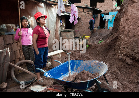 Peru, Cuzco Province, Cuzco, city listed as World Heritage by UNESCO, victims of a landslide due to flooding - Stock Photo