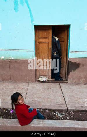 Peru, Cuzco Province, Cuzco, city listed as World Heritage by UNESCO, a young girl from a poor neighborhood - Stock Photo