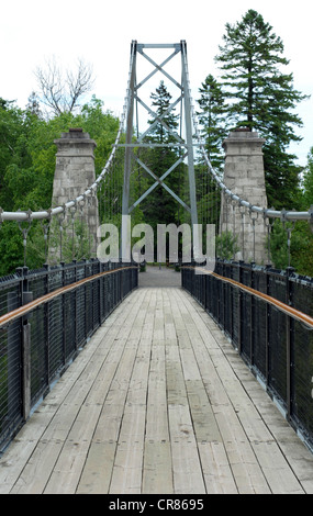 Suspension bridge with wood floor and trees in the background - Stock Photo
