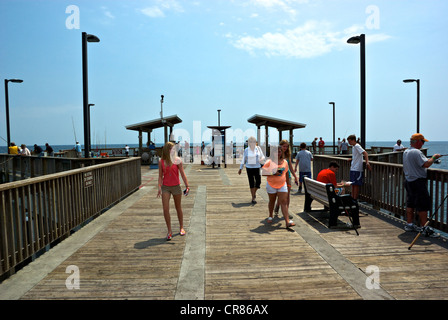 Far offshore end Gulf Shores State Park Alabama sport fishing pier - Stock Photo