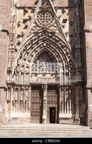 France, Aveyron, Rodez, Notre Dame cathedral south portal, late XVth century work of Jacques Maurel - Stock Photo