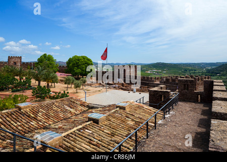 Walls of the Moorish Castle in the Old Town, Silves, Algarve, Portugal - Stock Photo