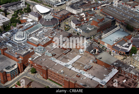 aerial view of Spindles Town Square Shopping Centre in Oldham town centre - Stock Photo