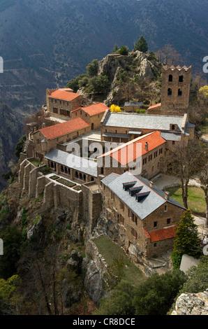 France, Pyrenees Orientales, abbey of Saint Martin du Canigou - Stock Photo