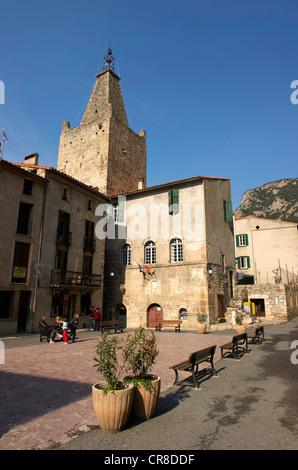 France, Pyrenees Orientales, Villefranche de Conflent, labelled Les Plus Beaux Villages de France, Medieval town - Stock Photo