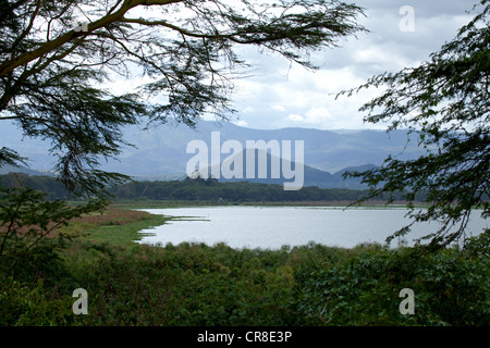View across Lake Naivasha from Elsamere in Kenya - Stock Photo