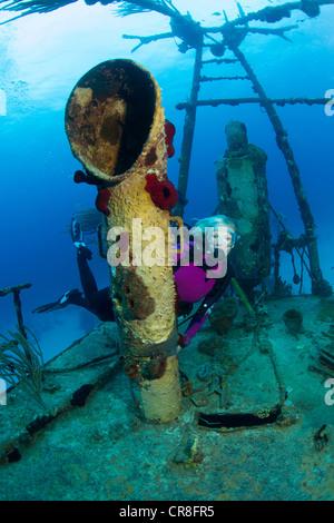 Scuba Diver on Shipwreck - Stock Photo