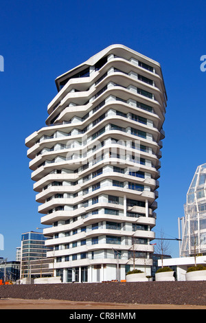 Marco Polo Tower in the Hafencity district, Port of Hamburg, Hamburg, Germany, Europe - Stock Photo