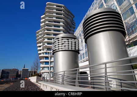 Modern architecture, Unilever Building and Marco Polo Tower in HafenCity, Port of Hamburg, Hanseatic City of Hamburg - Stock Photo