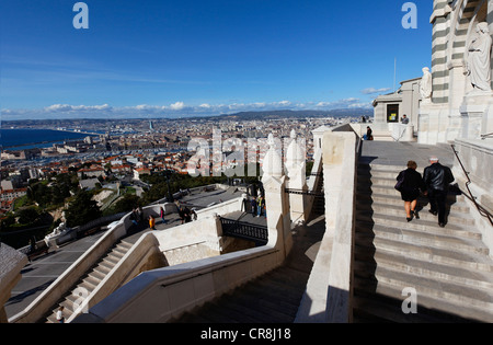France, Bouches du Rhone, Marseille, european capital of culture 2013, overview from Notre Dame de la Garde basilica - Stock Photo