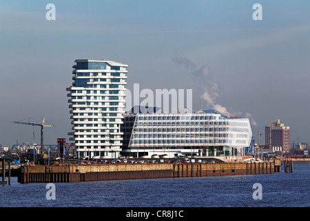 Modern architecture, Marco Polo Tower and Unilever Centre in HafenCity, Port of Hamburg, Hanseatic City of Hamburg - Stock Photo