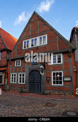 Historic timber-framed house, restaurant and cafe Abthaus in the old town of Buxtehude, Altes Land area, Lower Saxony - Stock Photo