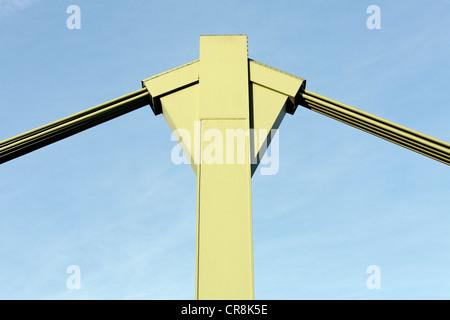 Pylon with steel cables, road bridge, Duesseldorf, North Rhine-Westphalia, Germany, Europe - Stock Photo