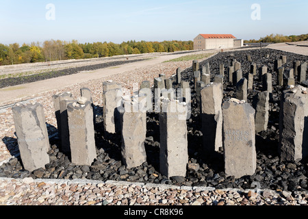 Steles with the names of concentration camps, Buchenwald memorial, former concentration camp near Weimar, Thuringia - Stock Photo