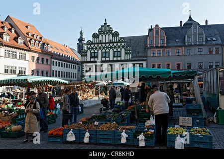 Market in front of the town hall, Weimar, Thuringia, Germany, Europe - Stock Photo
