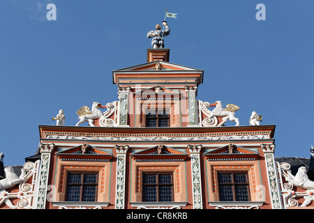 Gable ornaments on the Zum breiten Herd building, a Renaissance town house, historic district, Erfurt, Thuringia - Stock Photo