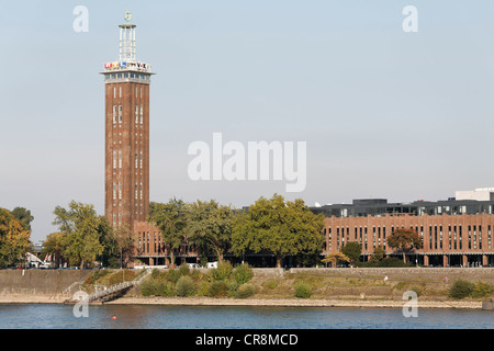 Cologne trade fair with Messeturm tower, front along the Rhine, Cologne, North Rhine-Westphalia, Germany, Europe - Stock Photo