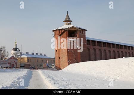 Russia. Kolomna kremlin and historical center. Wall of citadel - Stock Photo
