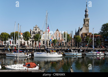 Marina and tower of the town hall, historic town of Veere, Walcheren, Zeeland, Netherlands, Europe - Stock Photo