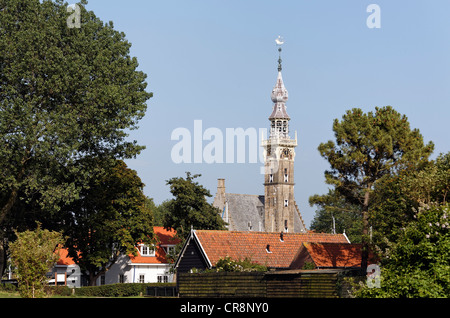 Late-Gothic town hall tower, Stadthuis town hall, historic town of Veere, Walcheren, Zeeland, Netherlands, Europe - Stock Photo