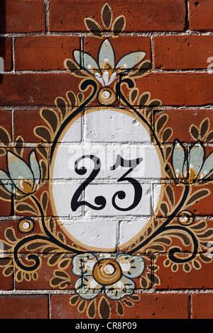 House number 23, decorated, Azijnfabriek, former vinegar factory in the Art Nouveau style, Pijpstraat, Middelburg, - Stock Photo
