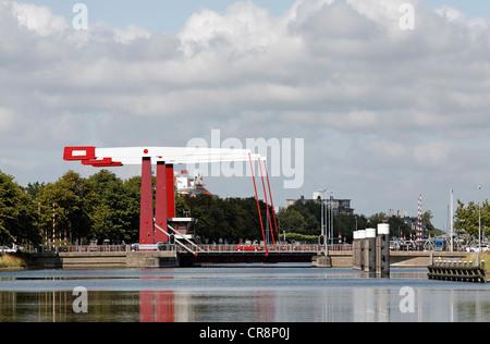 Schroebrug modern bascule bridge over the canal through Walcheren, Middelburg, Zeeland, Netherlands, Europe - Stock Photo