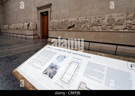 Hall with the Elgin Marbles, marble frieze from the Athens Parthenon, British Museum, London, England, United Kingdom, - Stock Photo