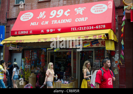 A 99 Cent store in Chinatown in New York on Sunday, June 10, 2012. (© Frances M. Roberts) - Stock Photo