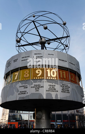 Urania World Clock on Alexanderplatz square, Mitte district, Berlin, Germany, Europe - Stock Photo