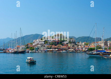 Old town and marina in Marmaris, Turkish Aegean Coast, Turkey - Stock Photo