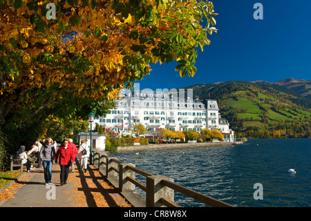 Grand Hotel in Zell am See on Lake Zell, Pinzgau region, Salzburger Land, Austria, Europe - Stock Photo