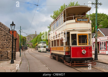 1926 Tram of Blackpool Corporation Transport.  This was the last open balcony tram to operate in Great Britain. - Stock Photo