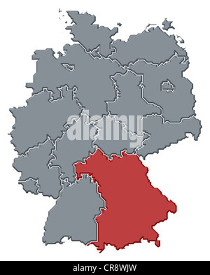 political map of germany with the several states where bavaria is highlighted stock photo