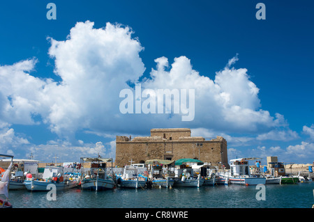 Fort in the harbor of Pafos, Paphos, Southern Cyprus, Cyprus - Stock Photo