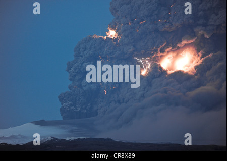 Lightning flashes in a charged cloud of ash from Eyjafjallajoekull Volcano, April 2010, Iceland, Europe - Stock Photo