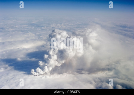 Ash cloud of the Eyjafjallajoekull volcano on the first day of the eruption, aerial view, Iceland, Europe - Stock Photo