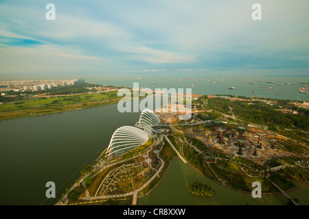 Singapore, river Hongbao view from roof Marina Bay Hotel - Stock Photo