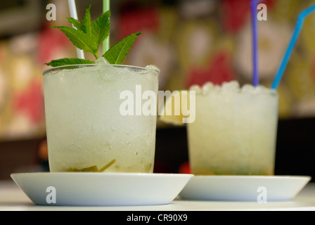 Two caipirinhas in a bar in Barcelona, Spain. - Stock Photo