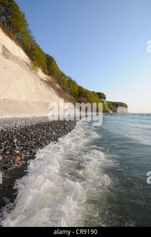 Chalk cliffs in Jasmund National Park, Ruegen, Mecklenburg-Western Pomerania, Germany, Europe - Stock Photo