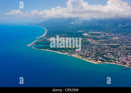 Aerial view of Bay Islands, Honduras - Stock Photo