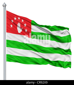 Flag of Abkhazia with flagpole waving in the wind against white background - Stock Photo