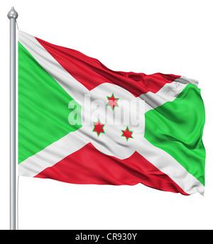 Flag of Burundi with flagpole waving in the wind against white background - Stock Photo