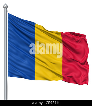 Flag of Chad with flagpole waving in the wind against white background - Stock Photo